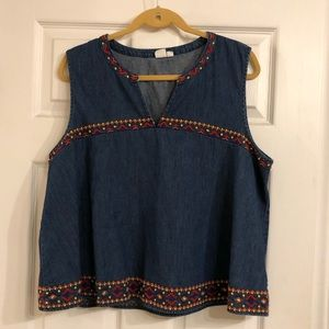 Denim GAP Colorful Embroidered Tank Top